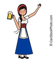 vetro, bavarese, donna, birra, presa a terra