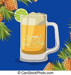 vetro, bevanda, libero, etichetta