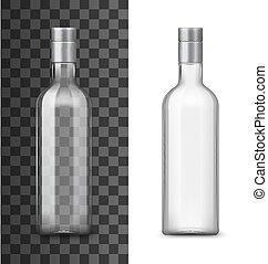 vetro, bevanda, realistico, 3d, bottiglia, alcool