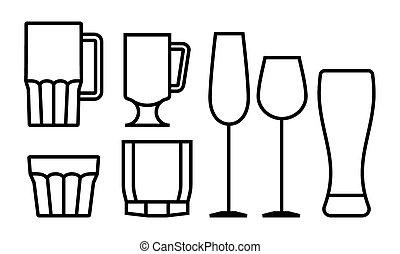 vetro, bevanda, set, icona