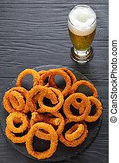 vetro, birra, anelli, cipolla, croccante