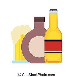 vetro, birra, bottiglia vino, tazza