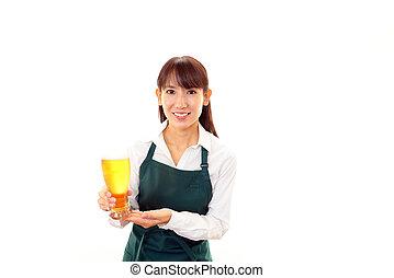 vetro, birra, cameriera