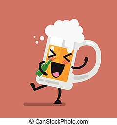 vetro, birra, carattere, ubriaco