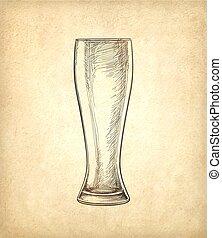 vetro, birra, carta, vecchio, fondo
