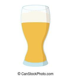 vetro, birra, cartone animato, icona
