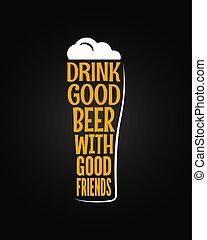 vetro, birra, concetto, slogan, fondo