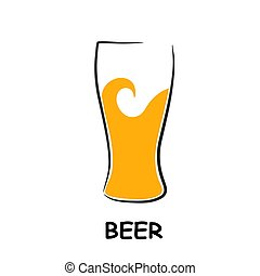 vetro, birra, disegno, fondo, menu