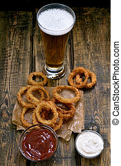 vetro, birra, fritto, anelli, cipolla