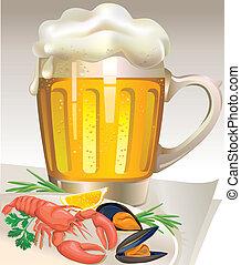 vetro, birra, frutti mare