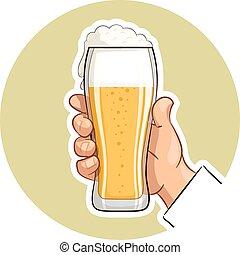 vetro, birra, mano