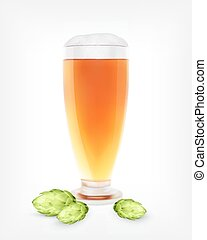 vetro, birra, pianta, luppolo