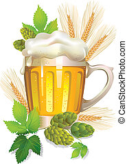 vetro, birra, schiuma, orzo