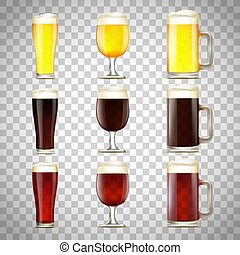 vetro, birra, set