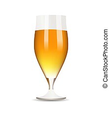 vetro, birra, sfondo bianco