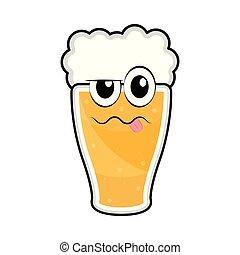 vetro, birra, ubriaco, colorato, icona