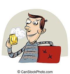 vetro, birra, uomo, presa a terra, felice
