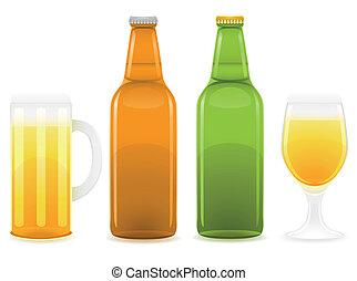vetro, birra, vettore, bottiglia