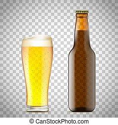 vetro, birra, vettore, illustration., bottle.