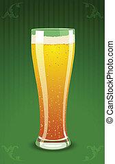 vetro, birra, vettore, illustrazione
