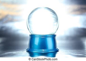 vetro blu, globo, vuoto, base., vuoto, snowglobe., neve