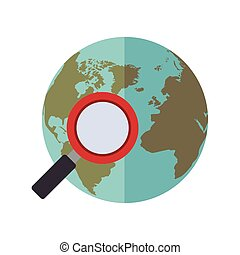 vetro blu, ingrandendo, mondo, sfera