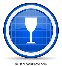vetro blu, lucido, fondo, bianco, icona