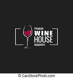 vetro, bordo, disegno, fondo, vino