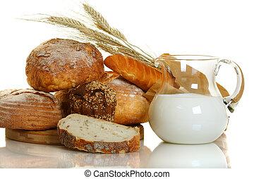 vetro, bread, latte fresco, vaso.