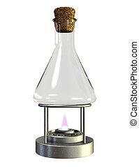 vetro, bruciatore, bunsen, vaso