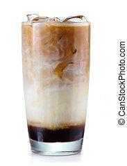 vetro, caffè, bianco, isolato, ghiacciato