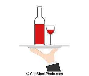 vetro, cameriere, mano, vettore, bottiglia, vino, vassoio, casato