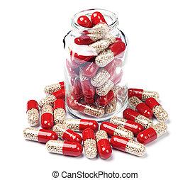 vetro, capsula, pillole, bottiglia