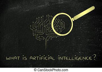 vetro, cervello, ingrandendo, elettronico, intelligenza, artificiale