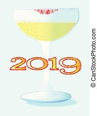 vetro, champagne, 2019, rossetto