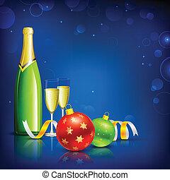 vetro, champagne, celebrazione natale