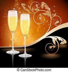 vetro, champagne