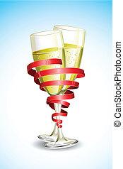 vetro, champagne, nastro