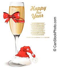 vetro, champagne, nuovo, fondo, anno