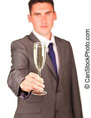 vetro champagne, presa, vicino, uno, uomo affari