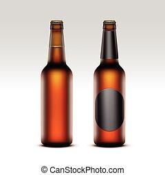 vetro, chiuso, vuoto, birra, set, luce, bottiglie
