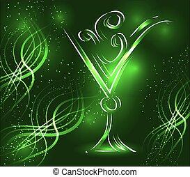vetro cocktail, fondo, verde, stelle, smeraldo, contorno