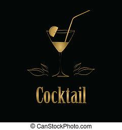 vetro cocktail, menu, fondo., vettore, disegno