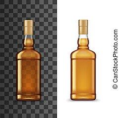 vetro, cognac, o, whisky, bottiglia, alcool, bevanda