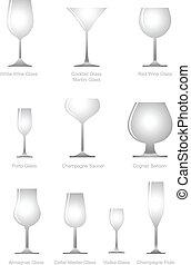 vetro, collezione, alcolico