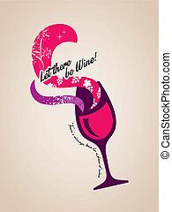 vetro, concetto, illustrazione, vino