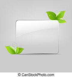 vetro, cornice, mette foglie