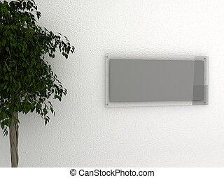 vetro, cornice, su, parete