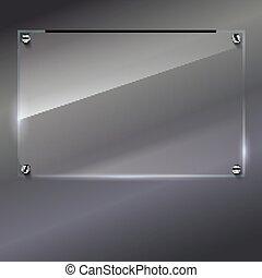 vetro, cornice, vettore, chiodi