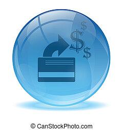 vetro, credito, sfera, 3d, scheda, icona